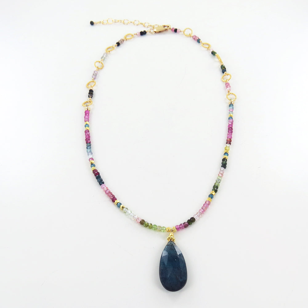 MULTI COLOR TOURMALINE A LINE NECKLACE