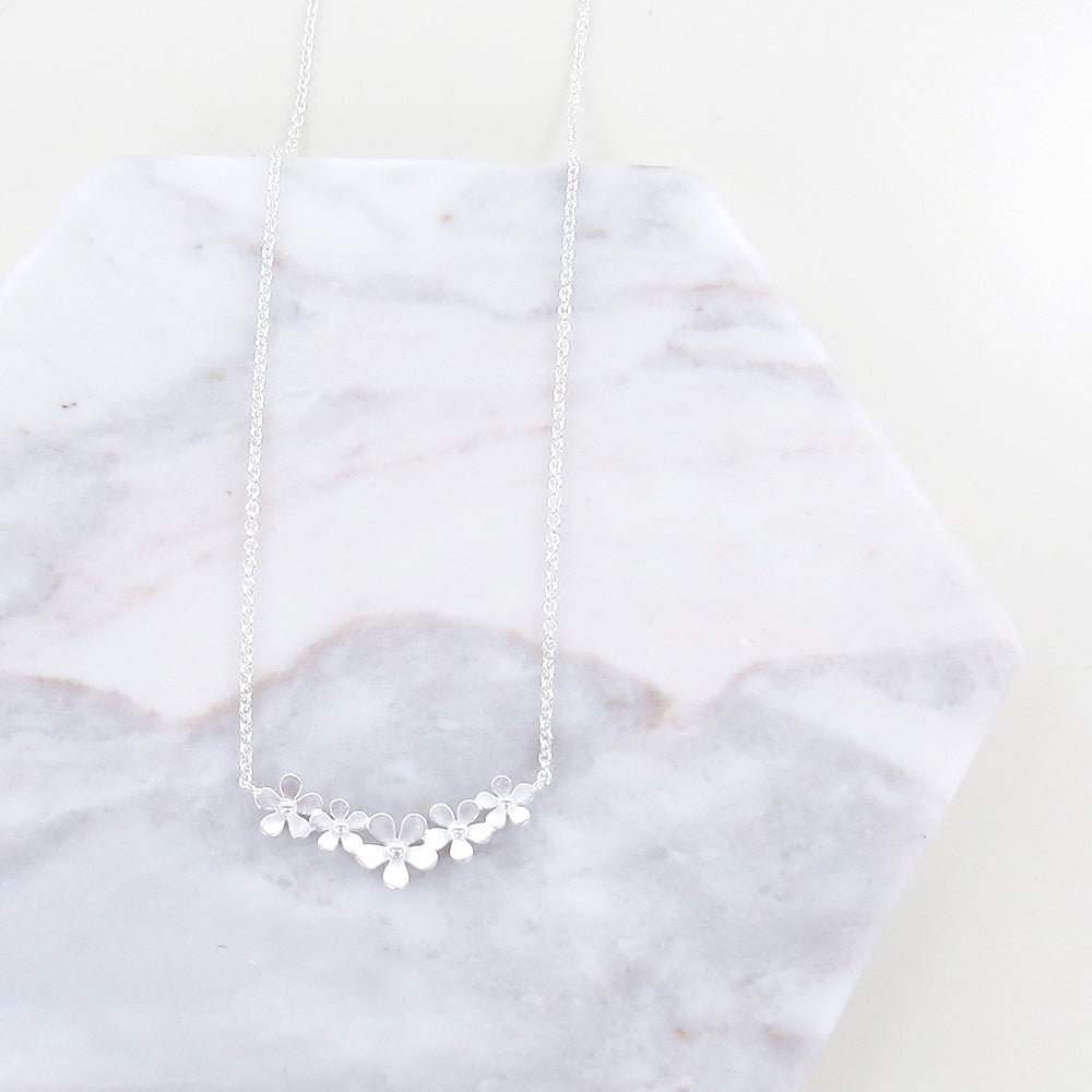 BRUSHED STERLING SILVER FORGET ME NOT FLOWER NECKL