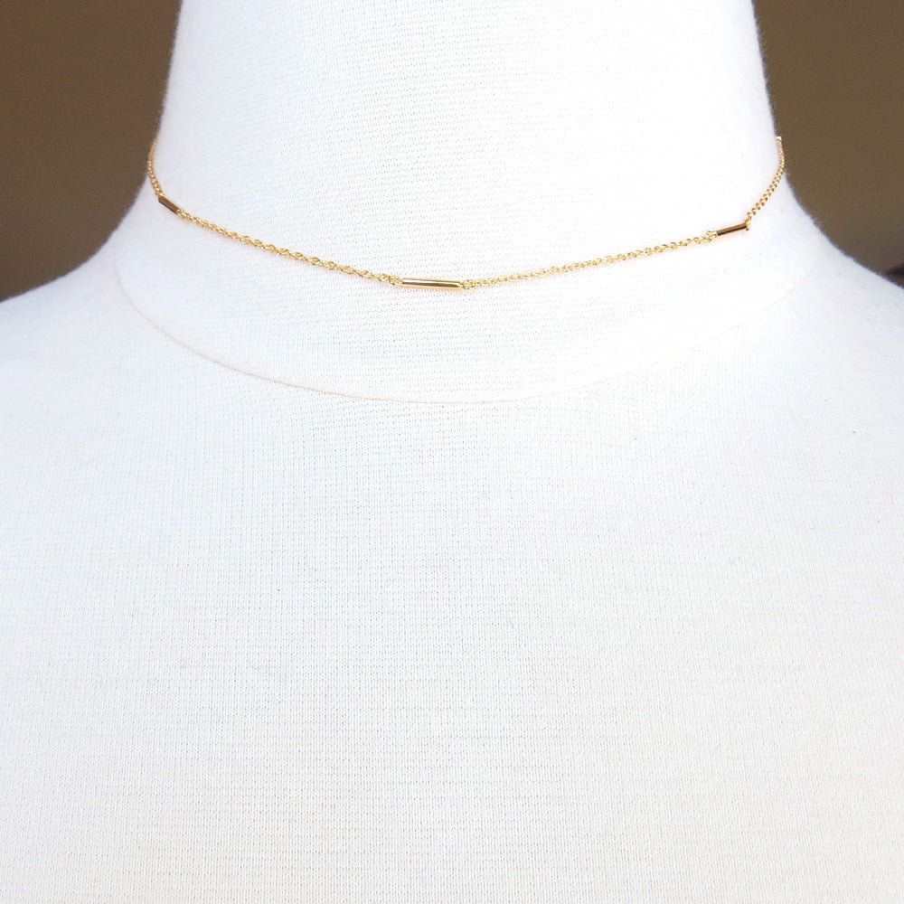 14K GOLD VERMEIL CYLINDER BAR STATION CHOKER