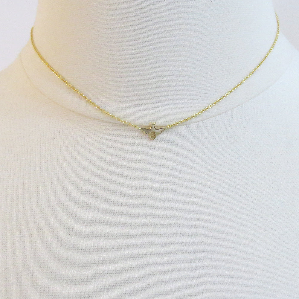 VERY TINY GOLD BEE NECKLACE
