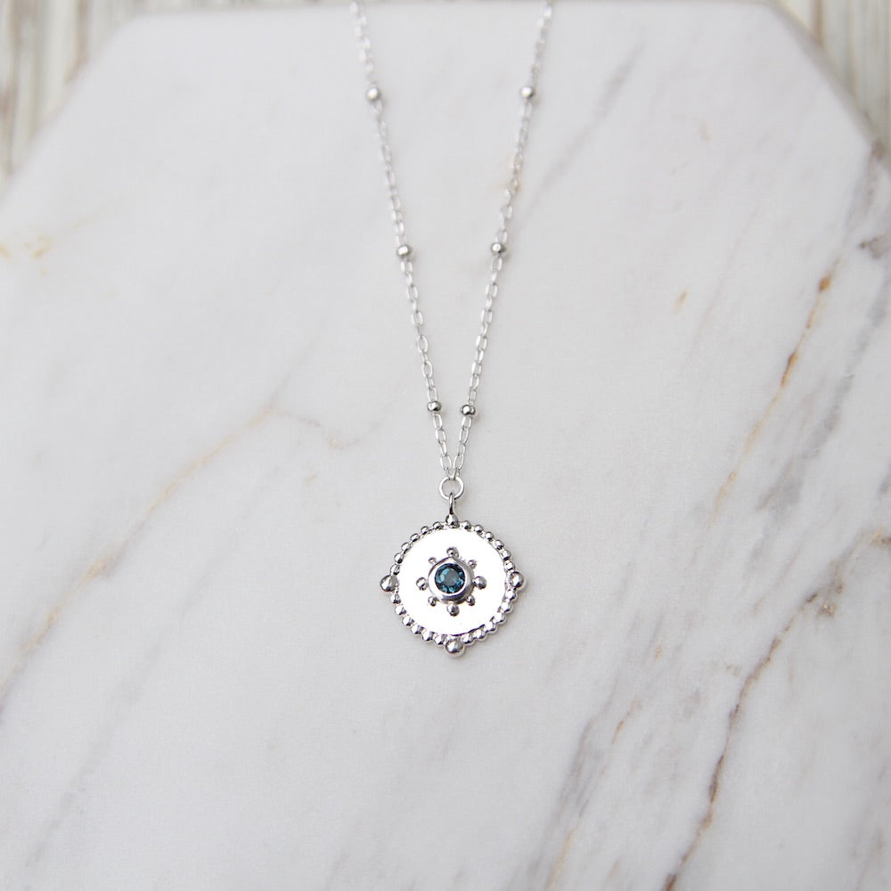 Dotted Disc Necklace with London Blue Topaz