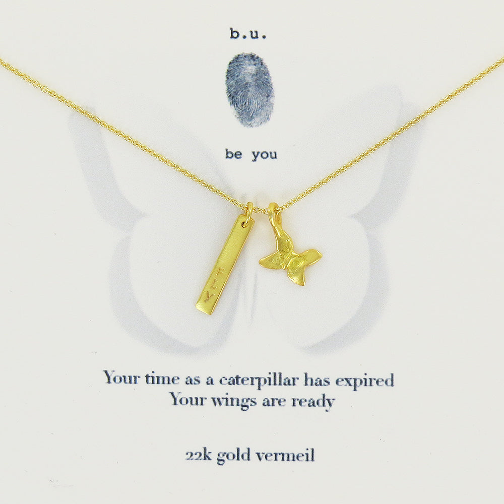 Meaningful Sterling Silver, 22k Gold Vermeil charm necklace, Your time as a caterpillar has expired. Your wings are ready.