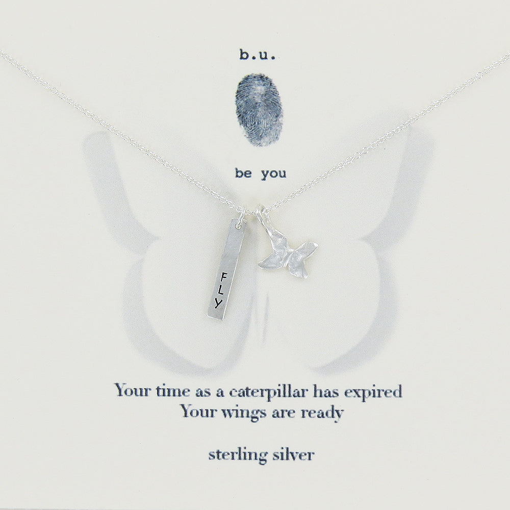 meaningful sterling silver charm necklace, your time as a caterpillar has expired, your wings are ready