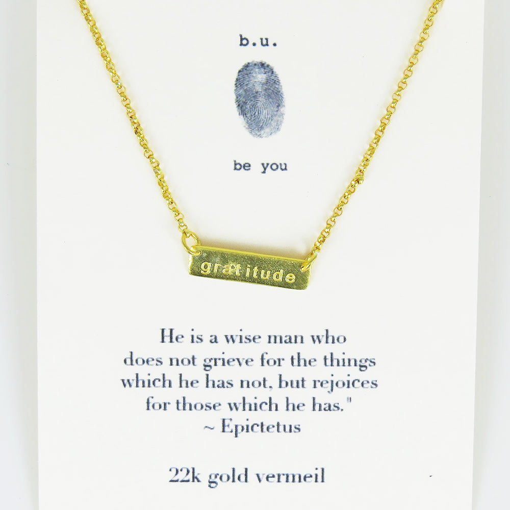 GRATITUDE VERMEIL BAR NECKLACE