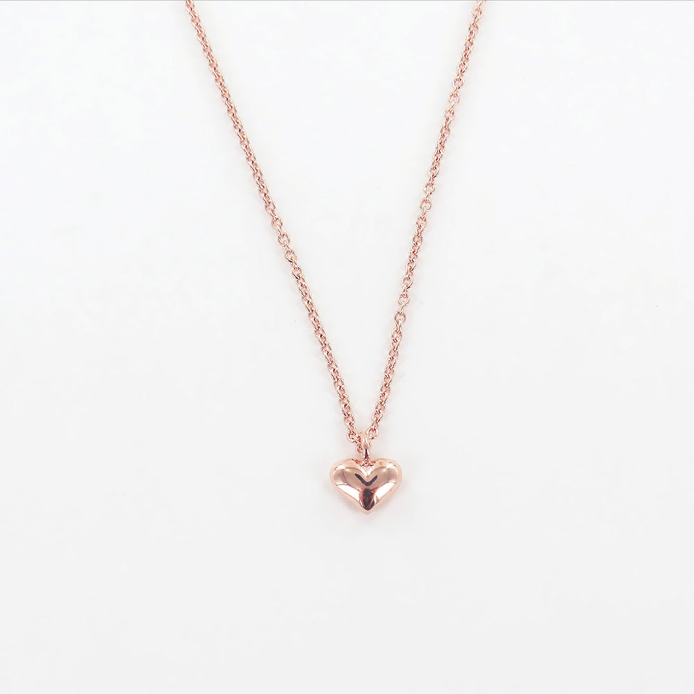 ROSE GOLD PUFFY HEART NECKLACE