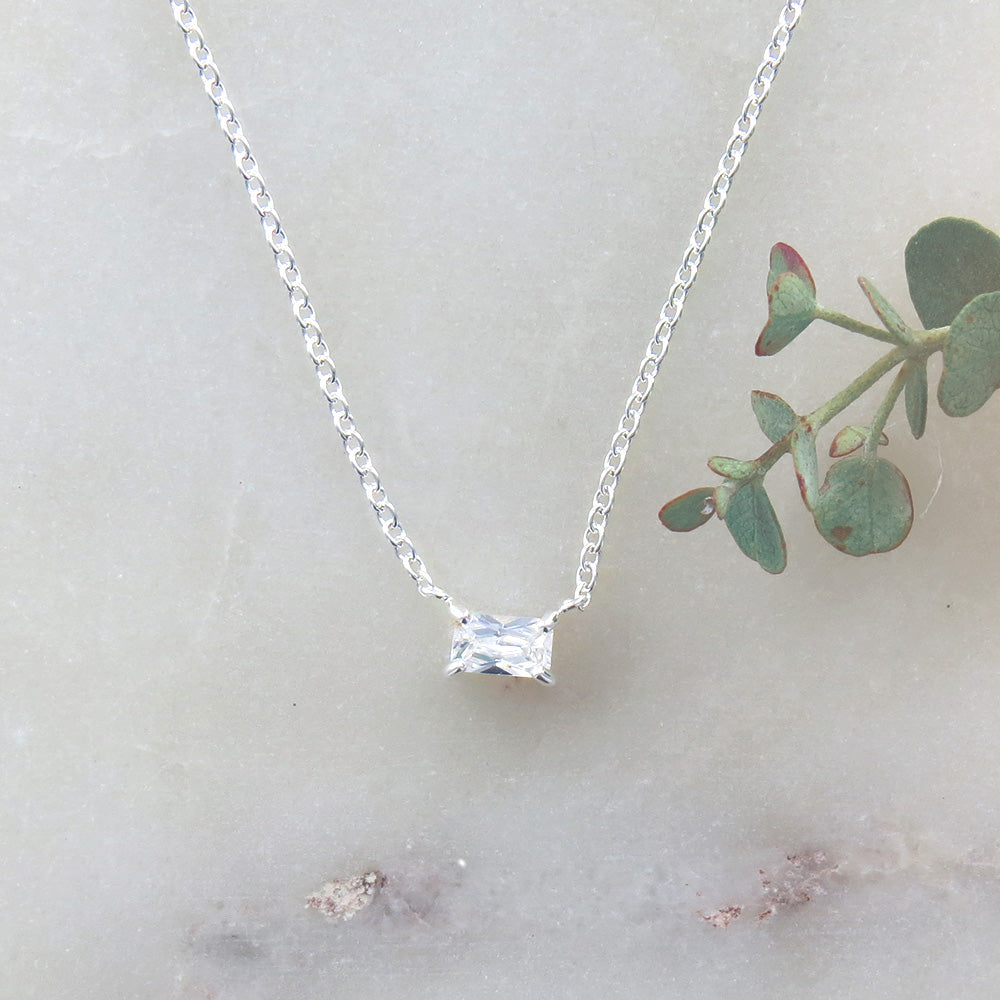 BAGUETTE SOLITAIRE CZ NECKLACE