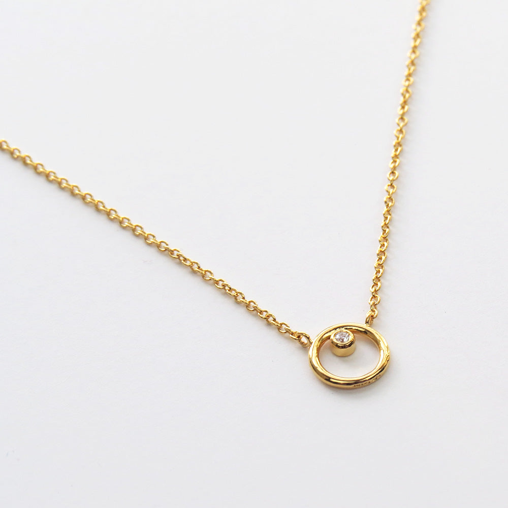 GOLD RING AROUND THE CZ NECKLACE