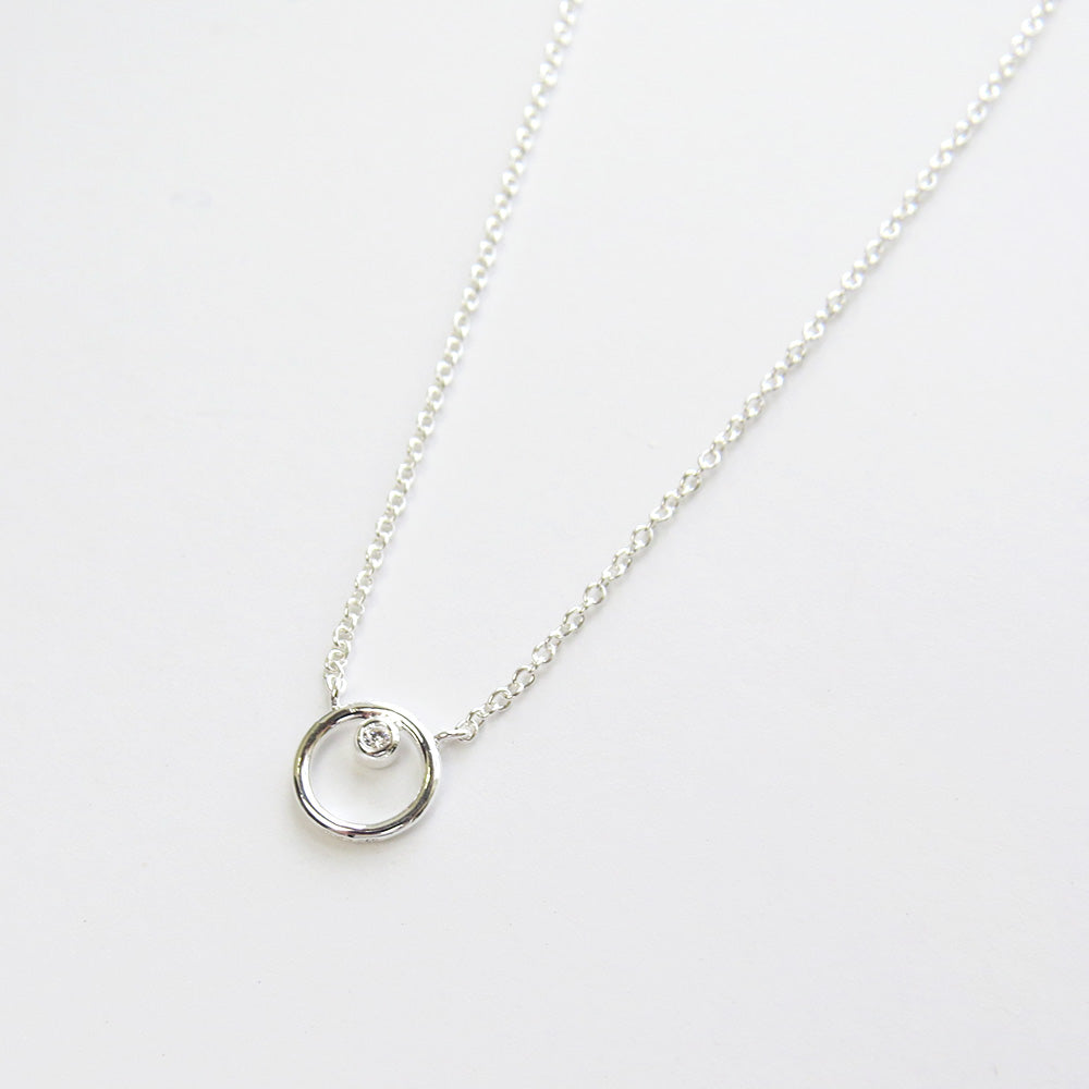 SILVER RING AROUND THE CZ NECKLACE