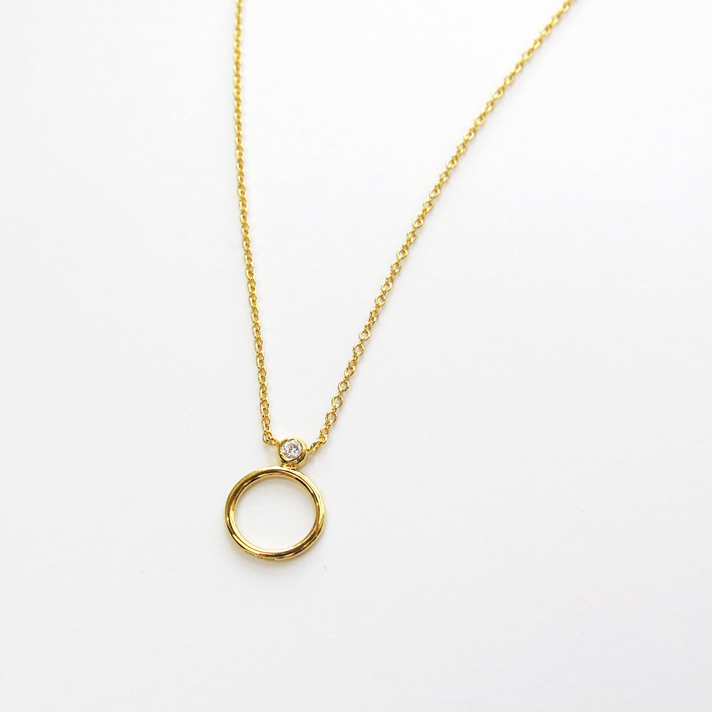 GOLD CZ CIRCLE STACK NECKLACE