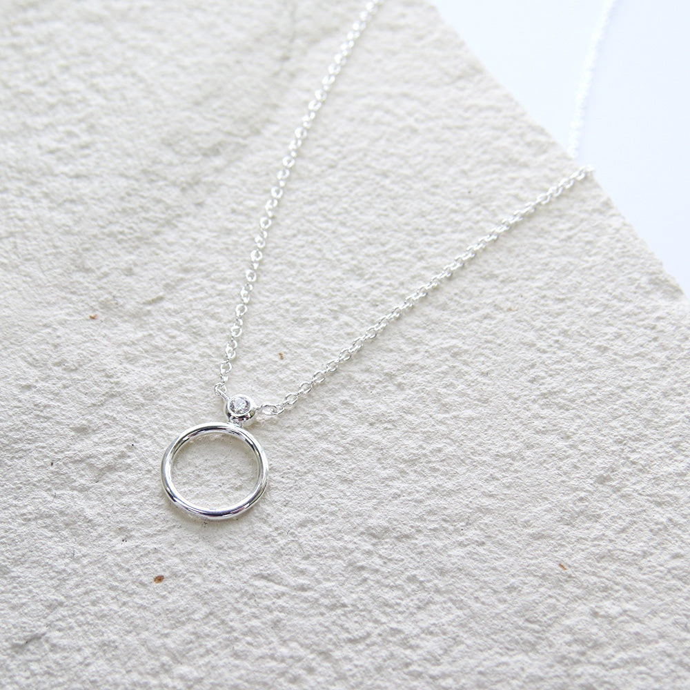 SILVER CZ CIRCLE STACK NECKLACE