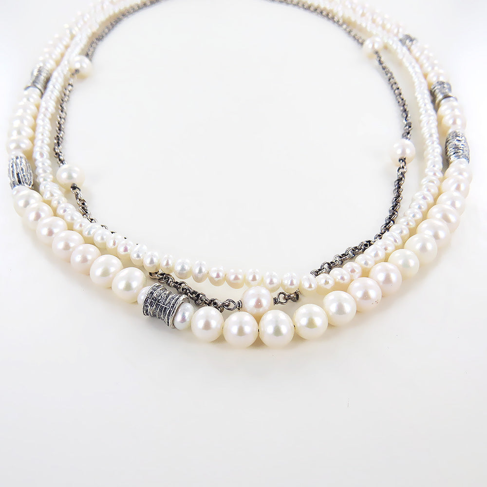 THREE STRAND BRANCH PEARL NECKLACE
