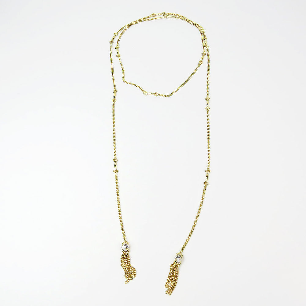 FRINGE AND CRYSTAL WRAP NECKLACE