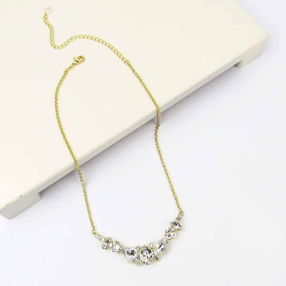 GRADIENT CRYSTAL BIB NECKLACE