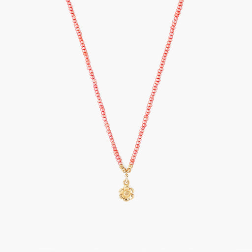 Hot Pink Pearls & Flower Charm Necklace