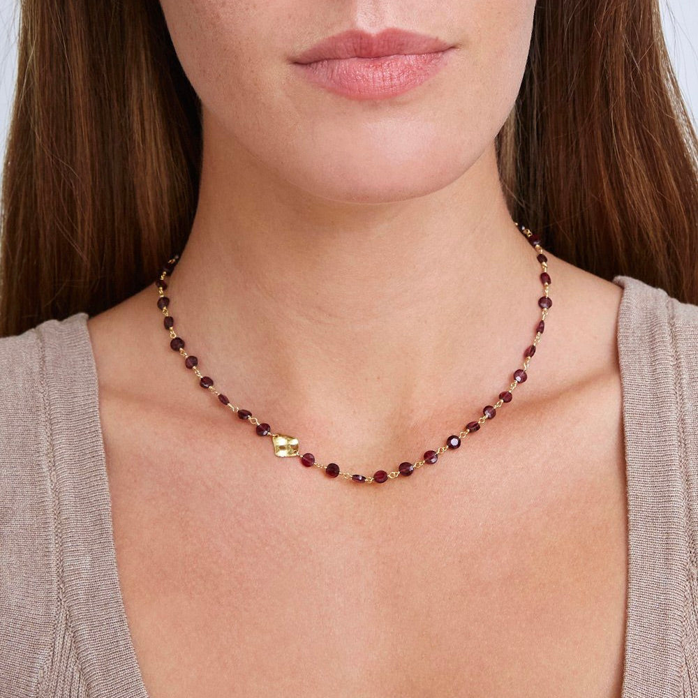 Garnet And Gold Charm Necklace