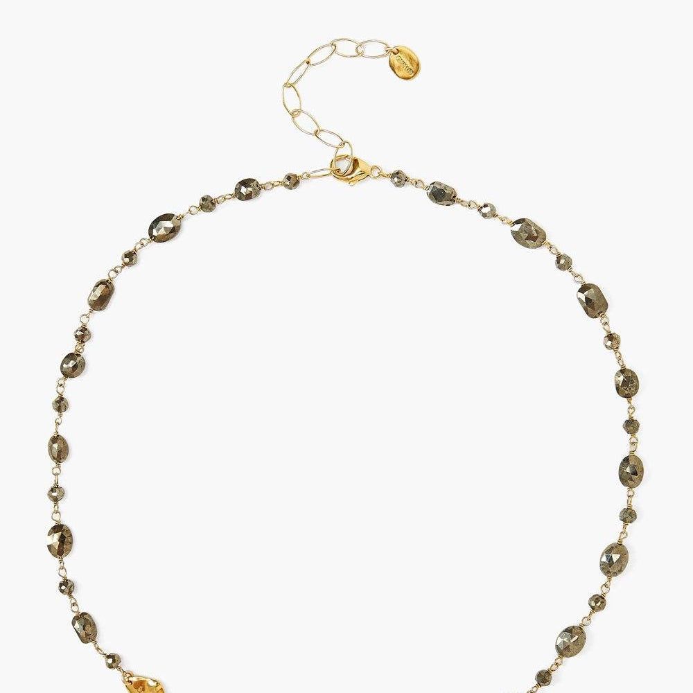 Pyrite And Gold Charm Necklace