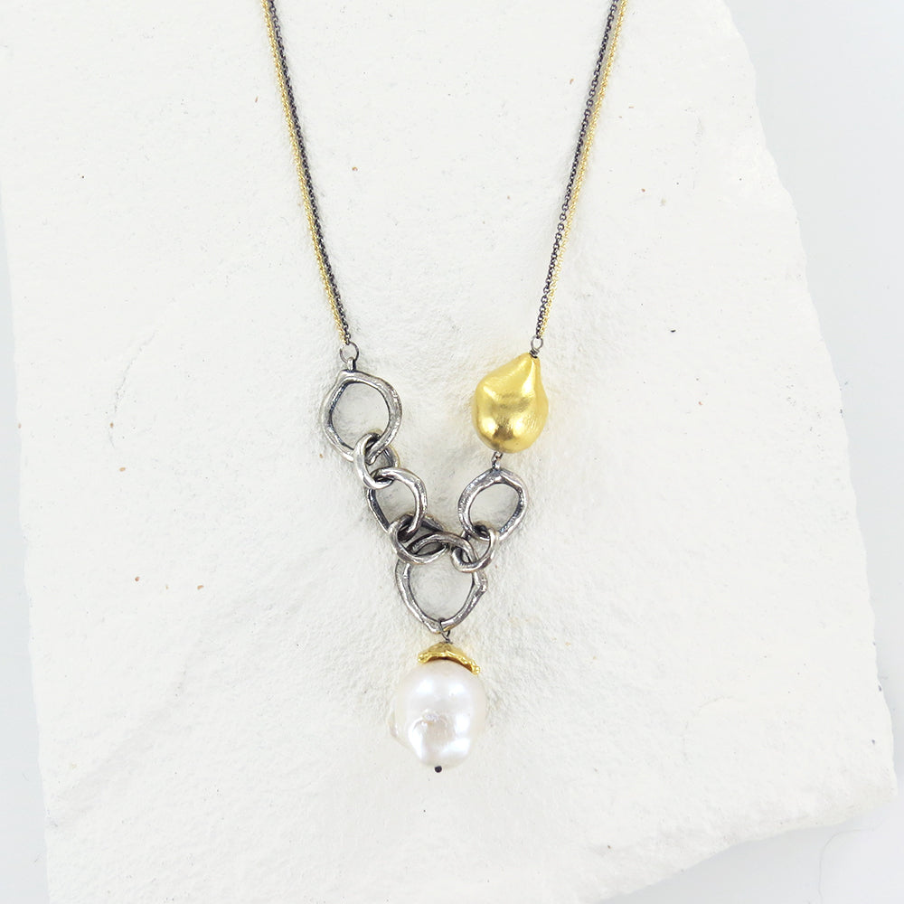MOLTEN LAVA NECKLACE - ANTIQUED SS RING, VERMEIL N