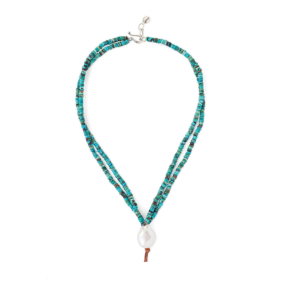 Turquoise Mix And White Baroque Pearl Pendant Necklace