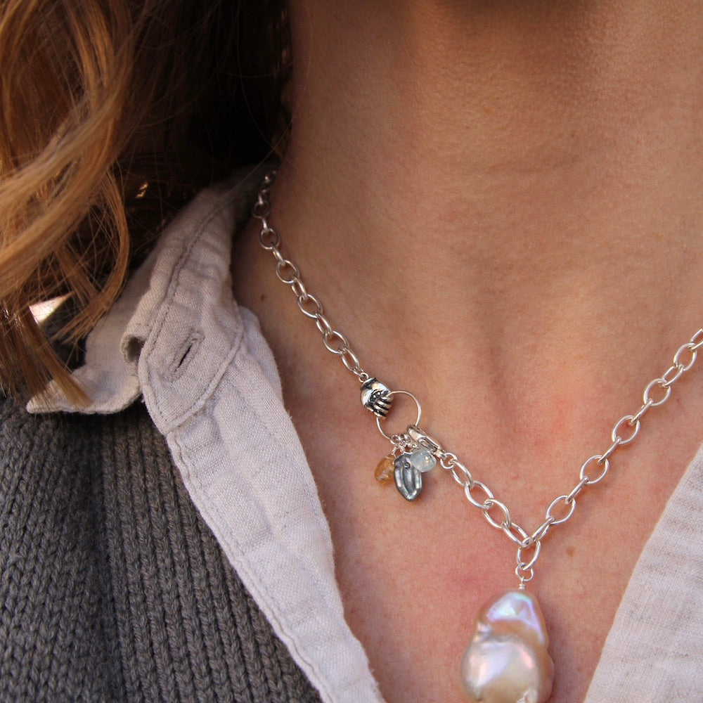 Aquamarine Mano Baroque Pearl Necklace