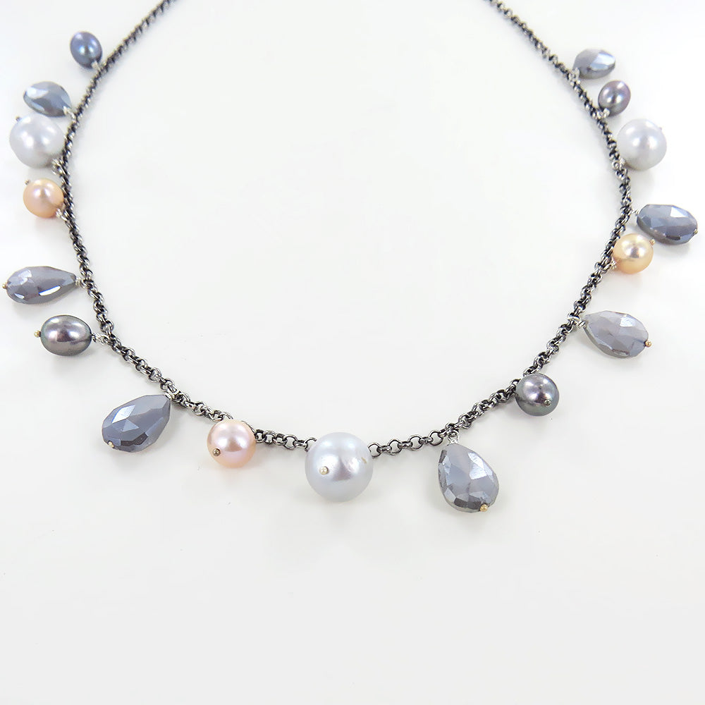 TWILIGHT PEARL CHARMED NECKLACE