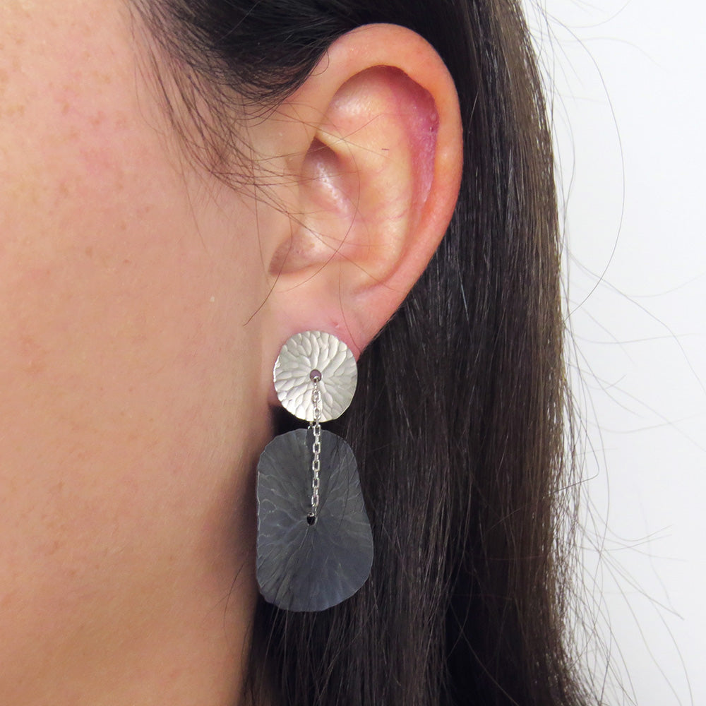 OASIS TWO TONE MEDALLION EARRING