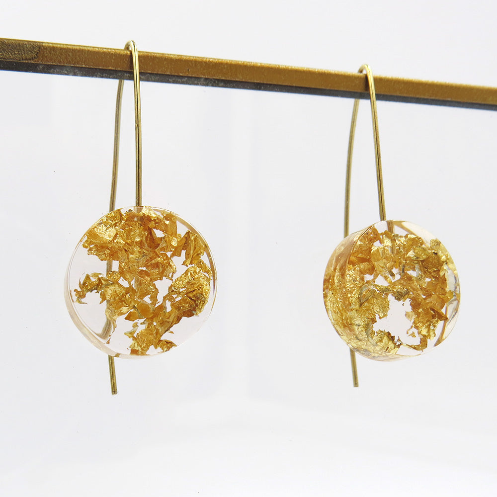 GOLD SPECKLED 18MM CLEAR MOON EARRING