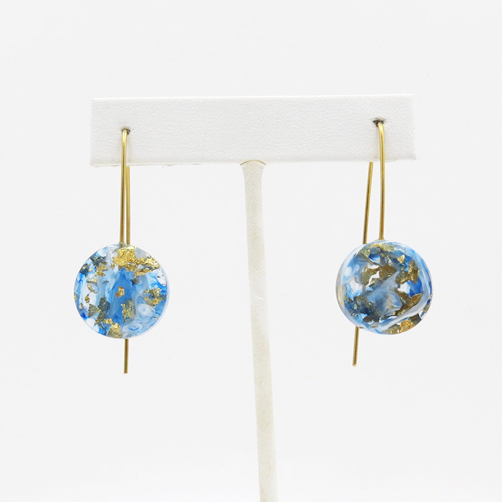 GOLD SPECKLED 18MM BLUE AND WHITE MOON EARRING
