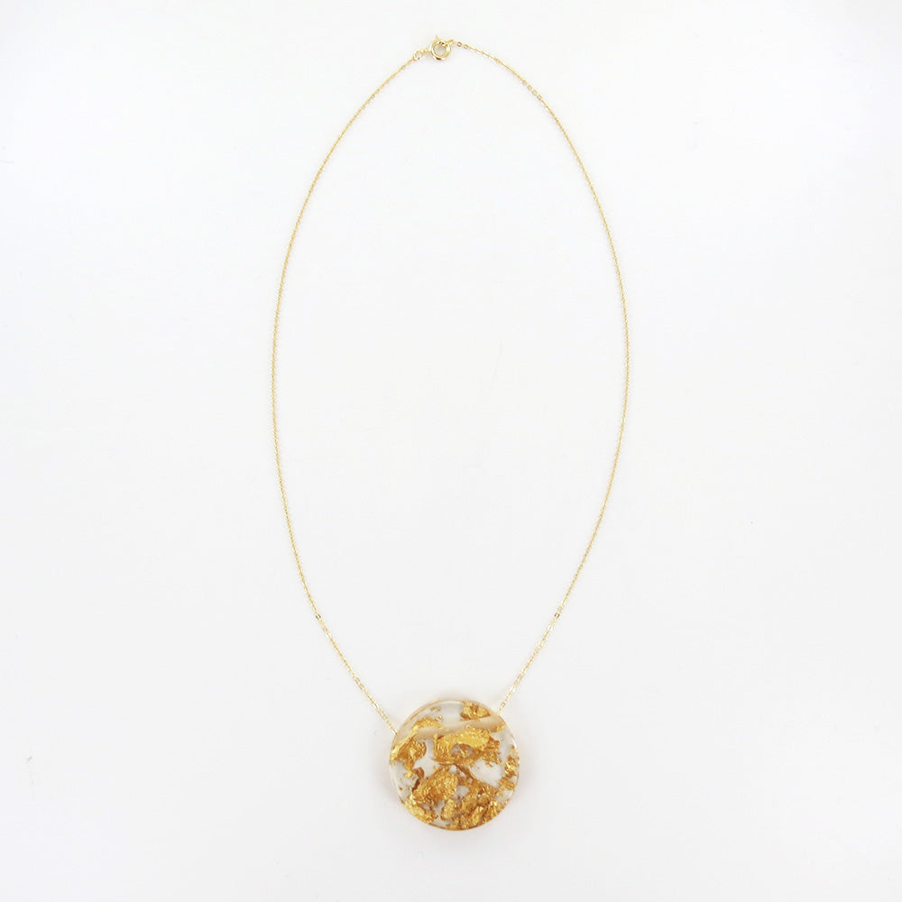 GOLD SPECKLED CLEAR FULL MOON PENDANT NECKLACE