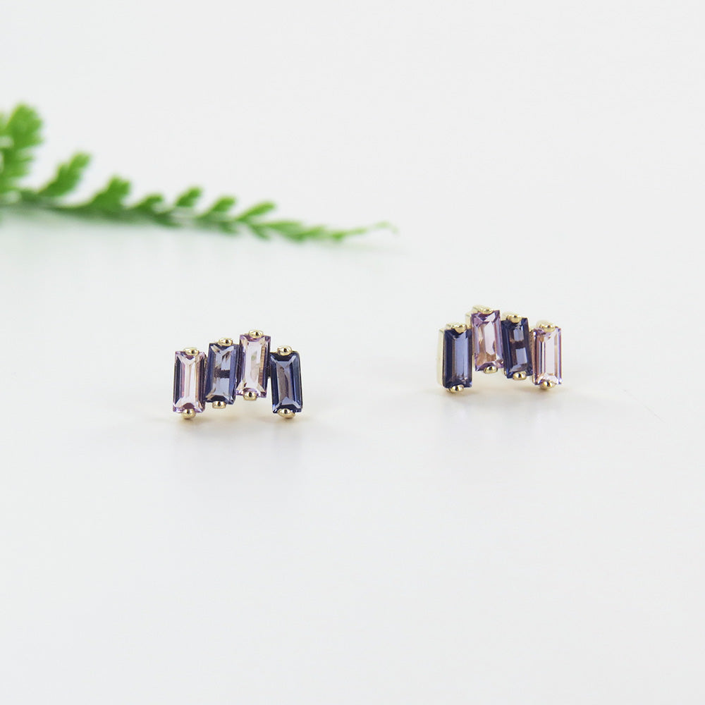 14k Gold Zig Zag Iolite Post Earring