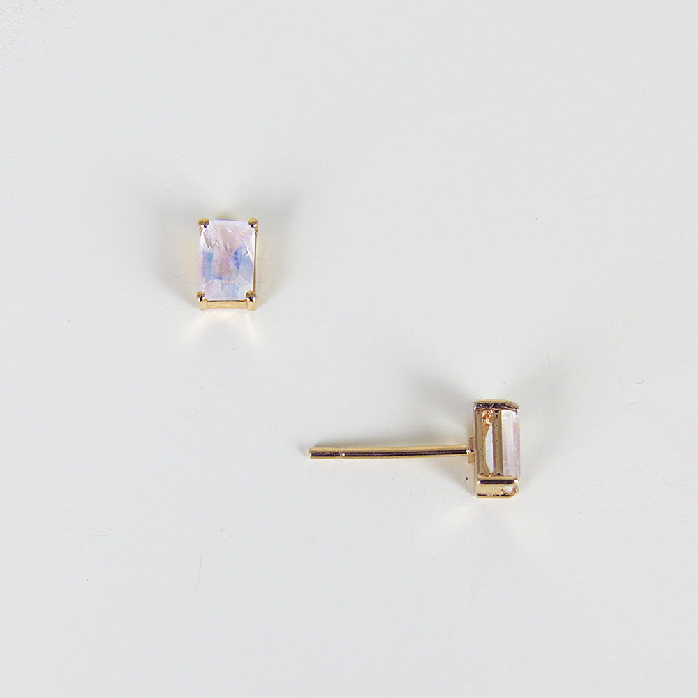 EMERALD CUT RAINBOW MOONSTONE POST EARRING