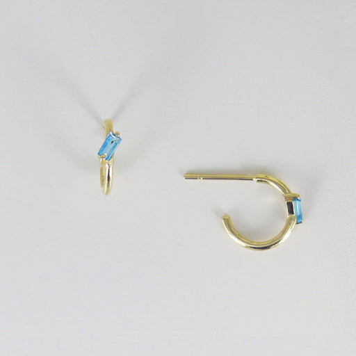 SWISS BLUE TOPAZ BAGUETTE HOOP EARRINGS