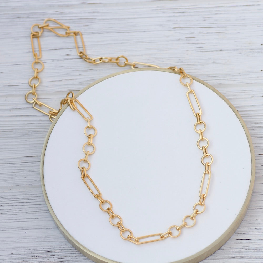 Handmade Industrial Link Necklace - Gold Plate