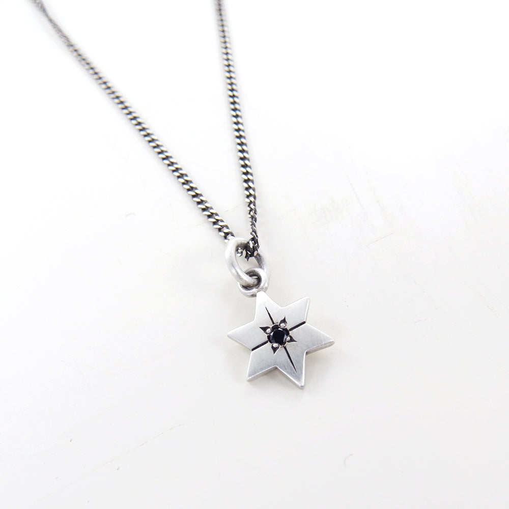 STAR OF DAVID WITHSTAR SET BLACK ONYX PENDANT
