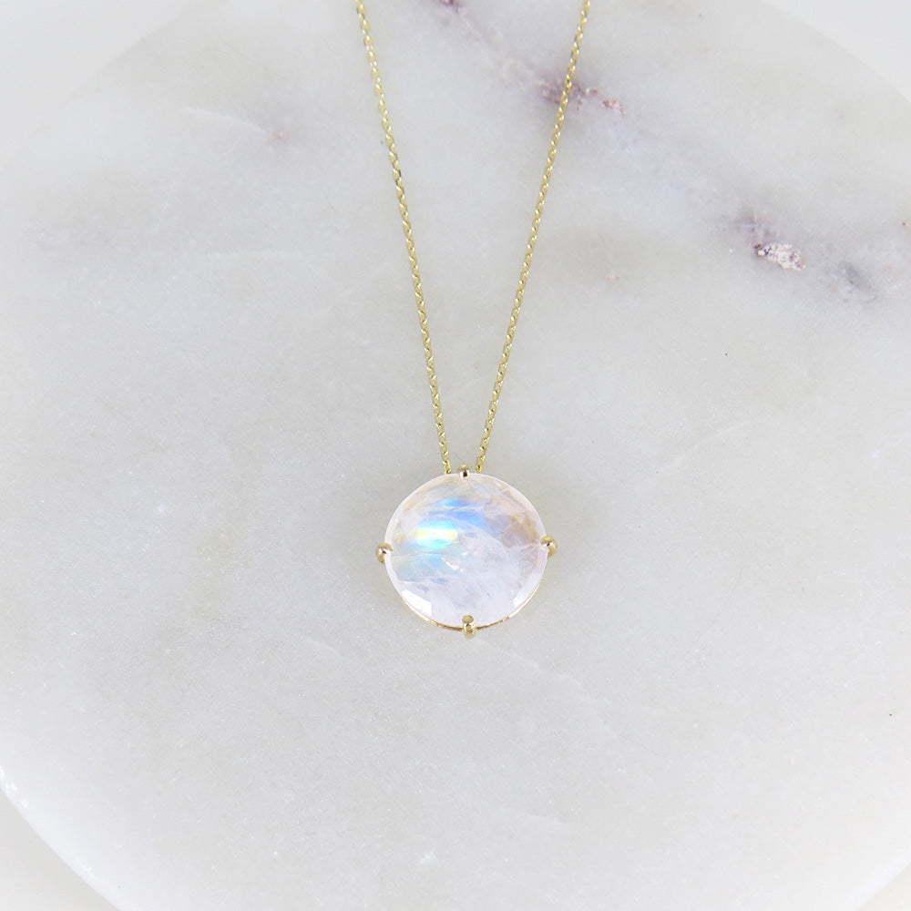 LARGE RAINBOW MOONSTONE NECKLACE