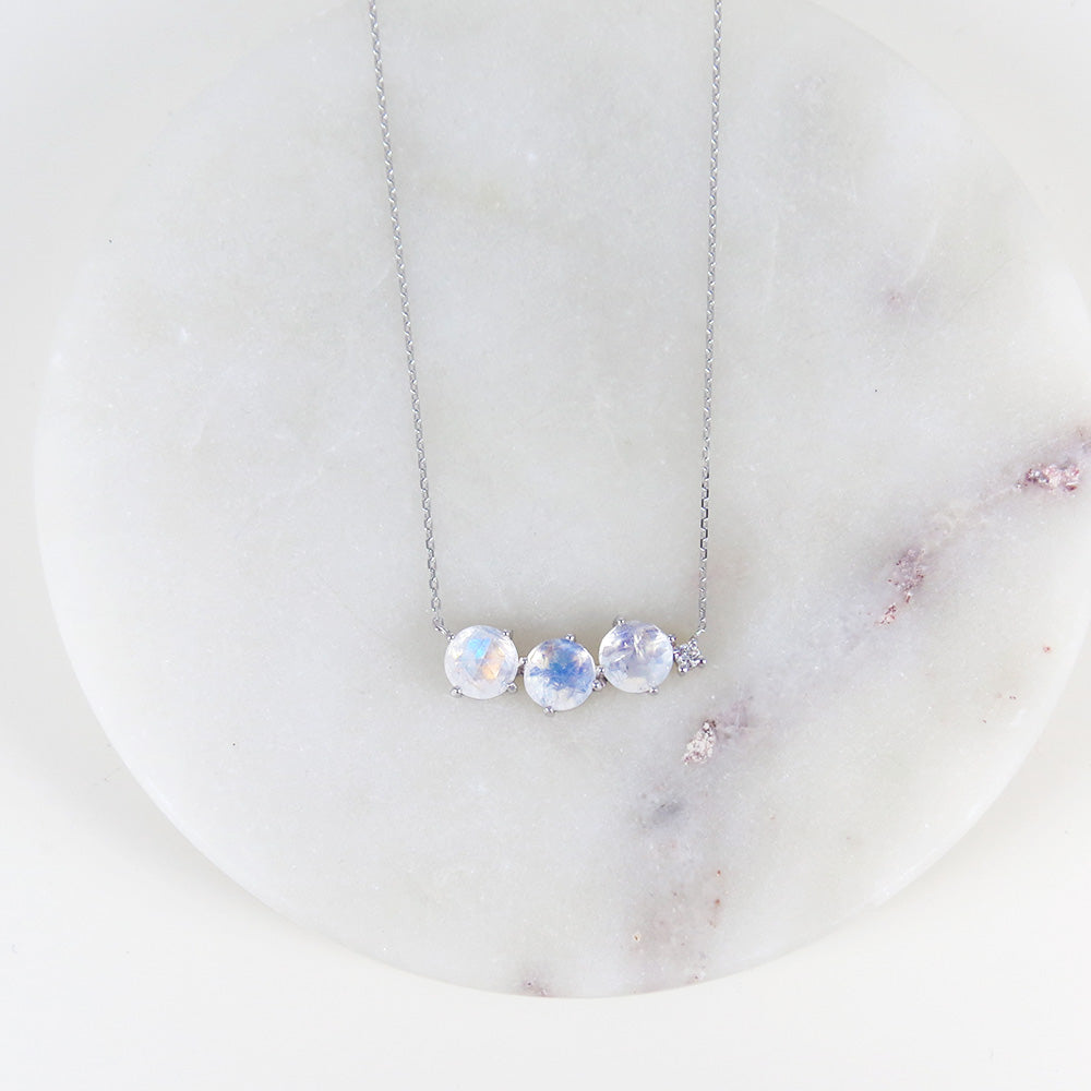 THREE RAINBOW MOONSTONE BAR NECKLACE