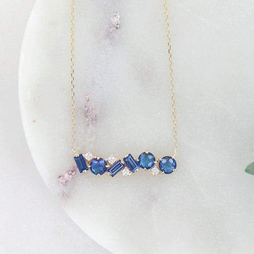ENGLISH BLUE MIX CUT BAR NECKLACE