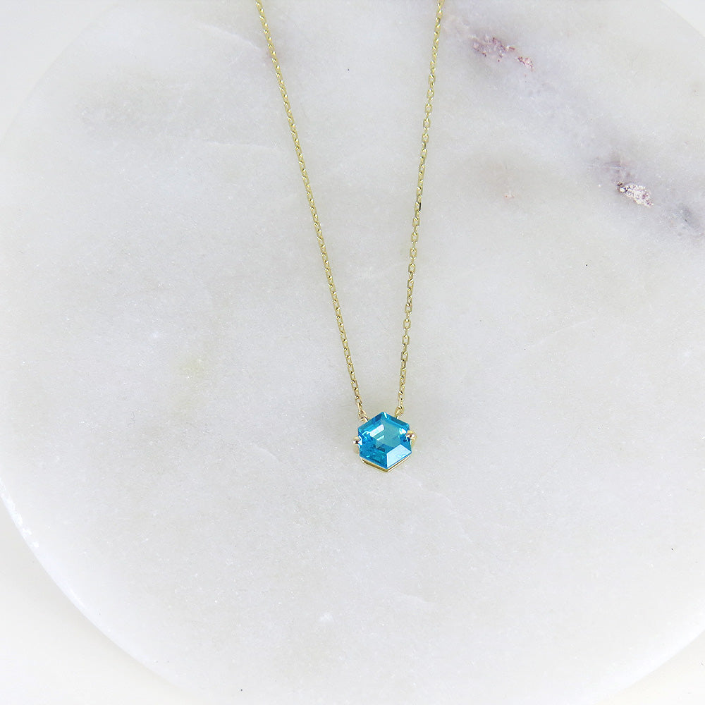 HEXAGON CUT PARAIBA TOPAZ NECKLACE