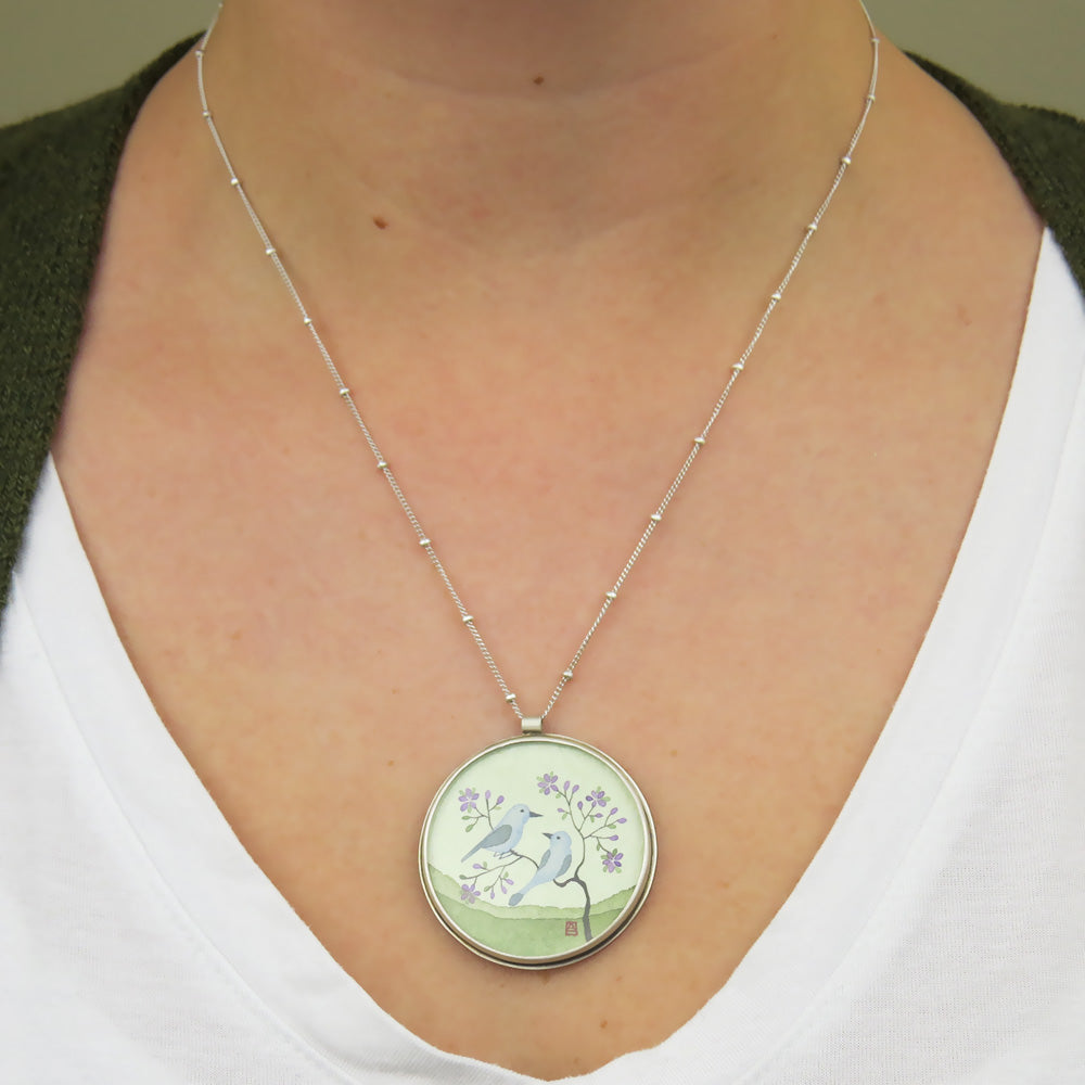 BLUE BIRD HAND PAINTED LARGE ROUND NECKLACE