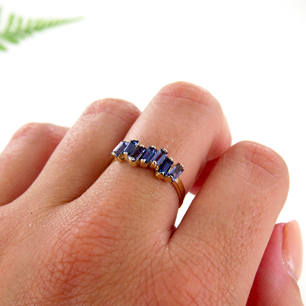 14k Gold Iolite and English Blue Topaz Ring