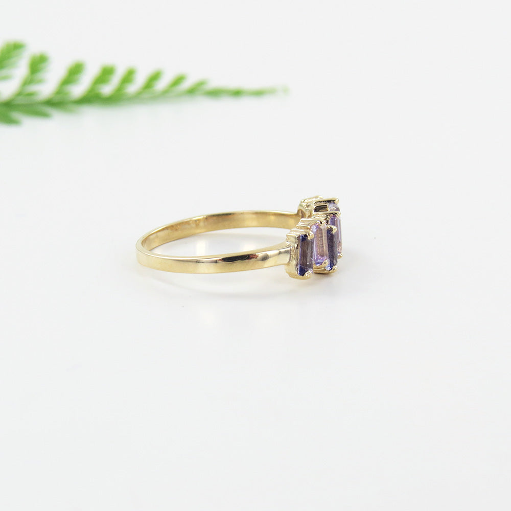 14k Gold Iolite and Rose De France Ring