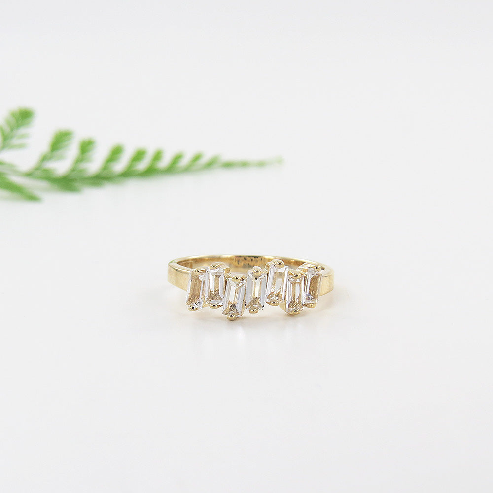 YELLOW GOLD WHITE TOPAZ RING