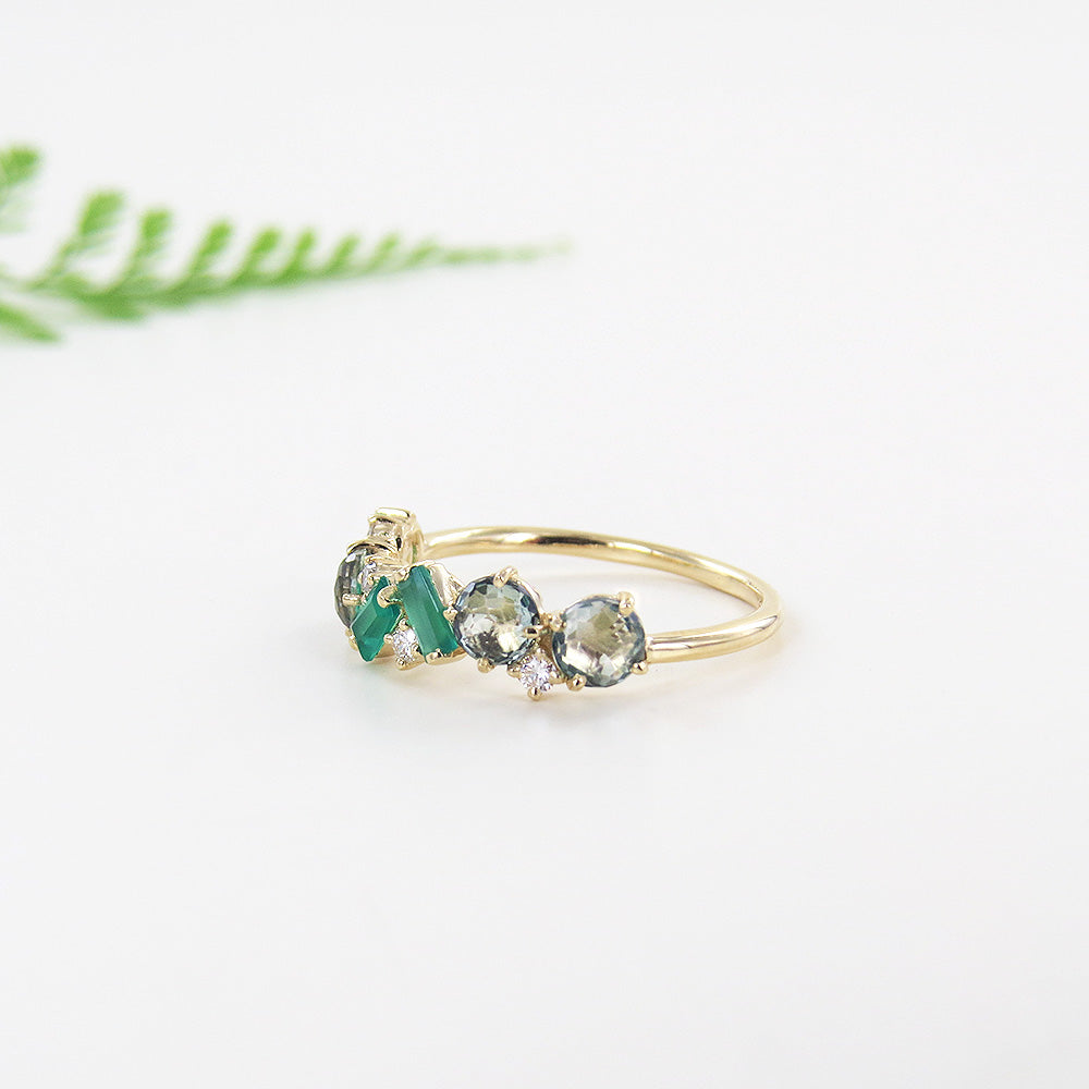 YELLOW GOLD DIAMOND GREEN TOPAZ AND GREEN ONYX