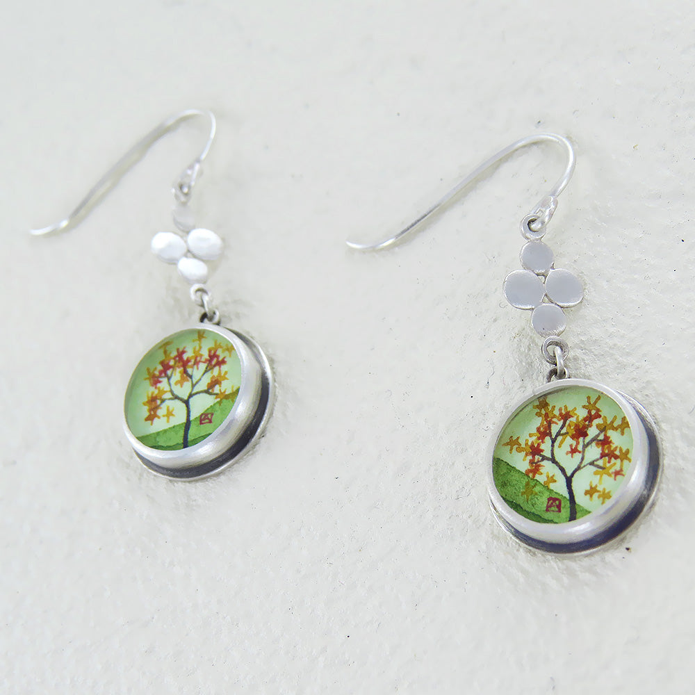 AUTUMN MAPLE HAND PAINTED SMALL ROUND EARRING