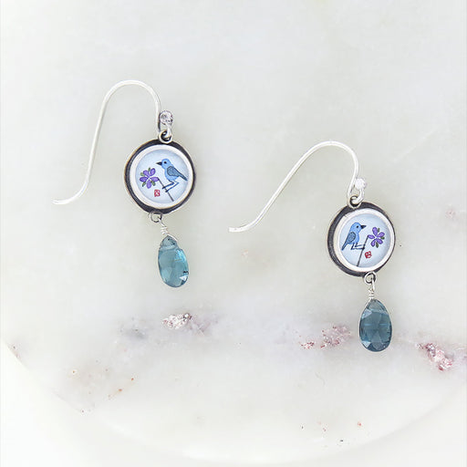 BLUEBIRD HAND PAINTED TINY ROUND EARRING