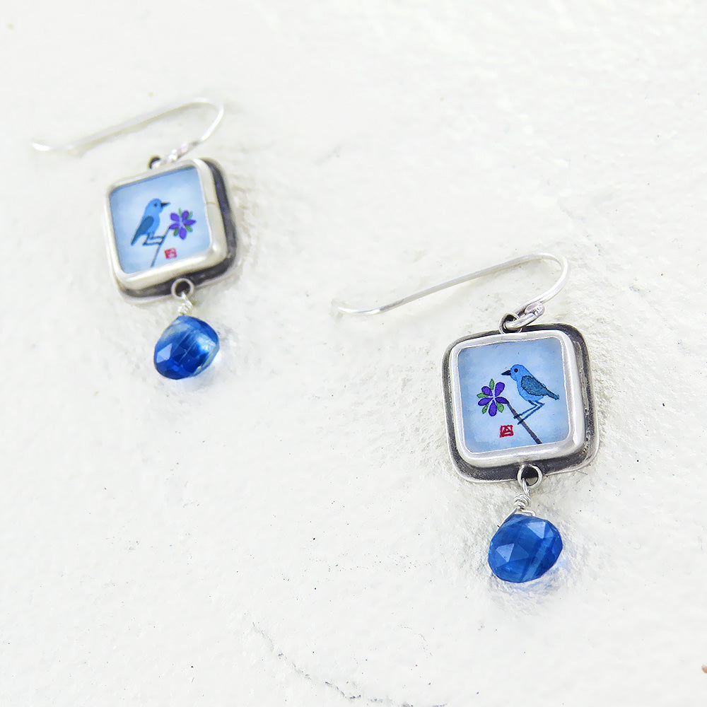 BLUEBIRD HAND PAINTED TINY SQUARE EARRING