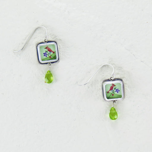 CARDINAL HAND PAINTED TINY SQUARE EARRING