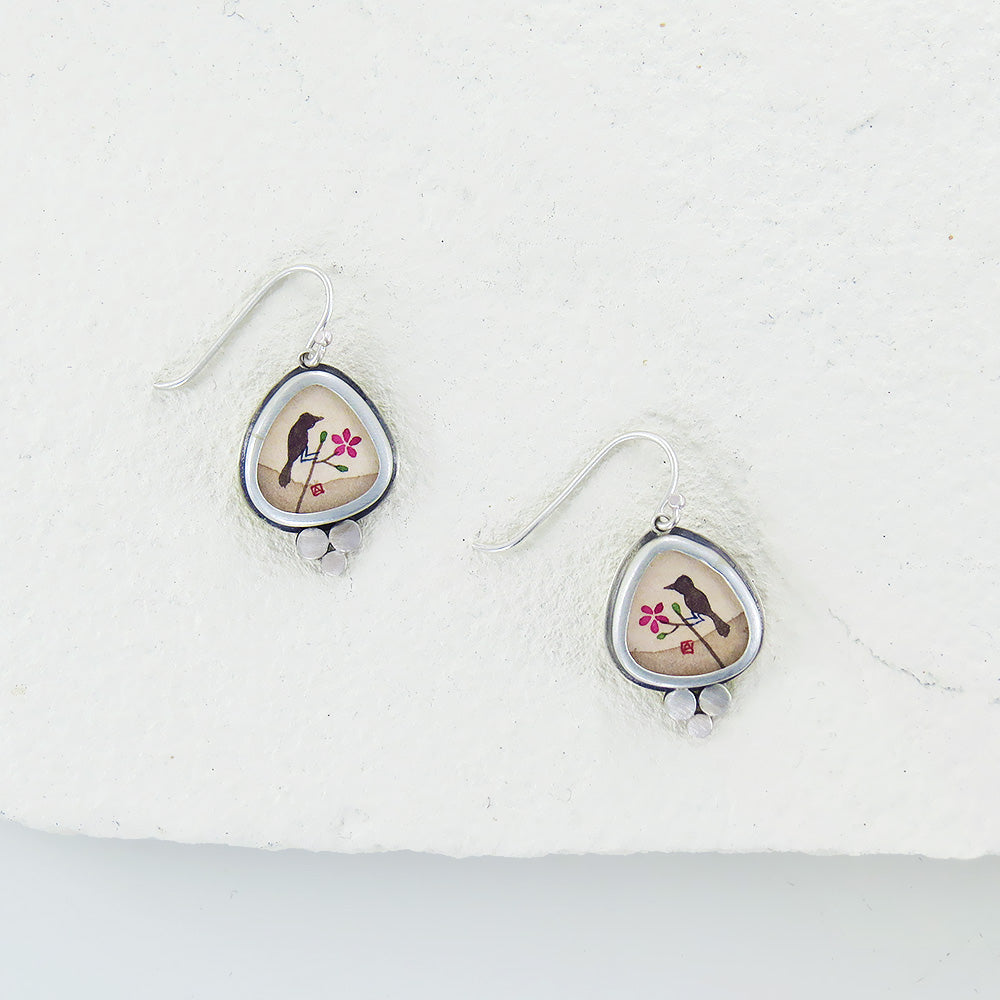 Hand Painted Organic Raven Earring with Dot Trio