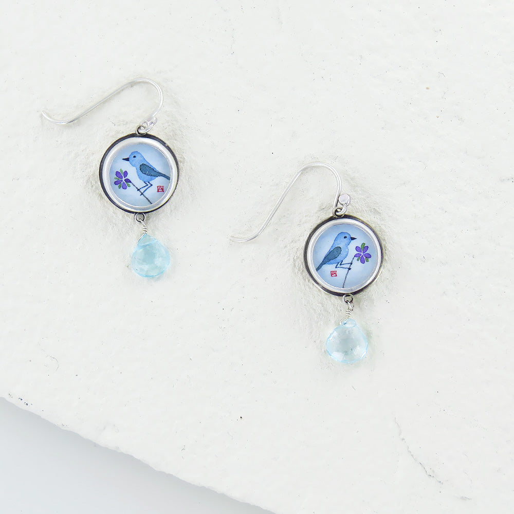 BLUEBIRD HAND PAINTED SMALL ROUND EARRING
