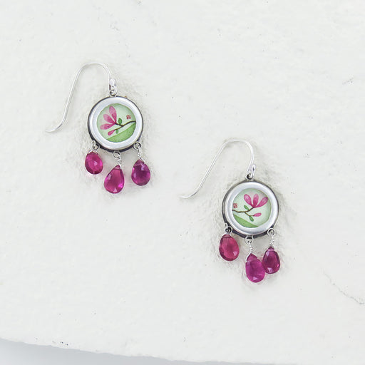 MAGNOLIA HAND PAINTED ROUNDS WITH TOURMALINE DROPS