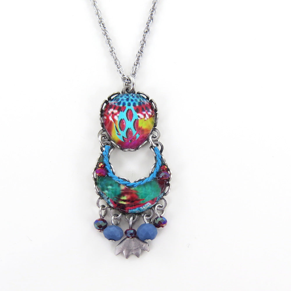 BLUE CASTLE PENDANT AYALA BAR HANDCRAFTED BLUE NECKLACE